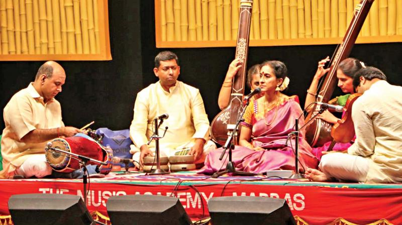 Renowned musician Bombay Jayashri performs at Music Academy on Wednesday. (Photo: DC)