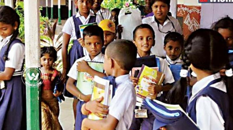 Niranjan aradhya V.P. of the Centre for Child and the Law, National Law School of India University, points out that the state government has failed to set aside even 20 per cent of its total budgetary allocations for school education this year. (Representational Image)