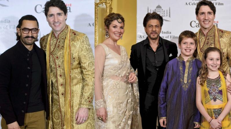 Aamir and Shah Rukh Khan with Canadian PM Justin Trudeau and family. (Photo: AP/ PTI)
