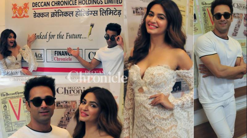 Kriti Kharbanda and Pulkit Samrat visited the Deccan Chronicle office in Mumbai for an interaction for their upcoming film 'Veerey Ki Wedding' on Tuesday. (Photos: Debashish Dey)