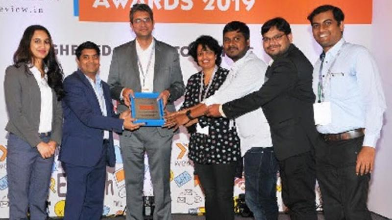 Manipal Global's EduNxt team receiving .the mobile Learning Company of the Year. (Photo: ANI)