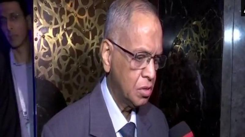 'We have to think what problems are confronting us, and how we can solve them. If entrepreneurs can collaborate with research institutions and Indian Institutes of Technology (IITs), the country will benefit a lot in many spheres,' said Murthy. (Photo: ANI)