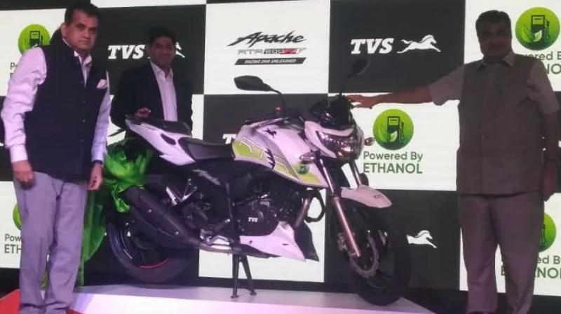 TVS Apache RTR 200 Fi E100 will be environmentally friendlier and cheaper to run than its petrol-powered counterparts.