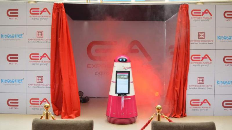 The EA-BOT, a five-feet robot, is equipped with 22-inch screen that will help the guests visiting the mall (Photo: Facebook)
