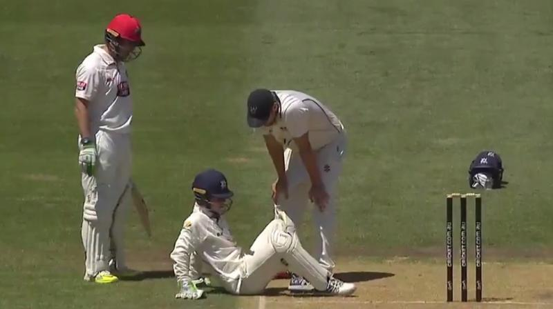 Sam Harper was hit on head during a Sheffield Shield match at the Adelaide Oval. (Photo: Screengrab)