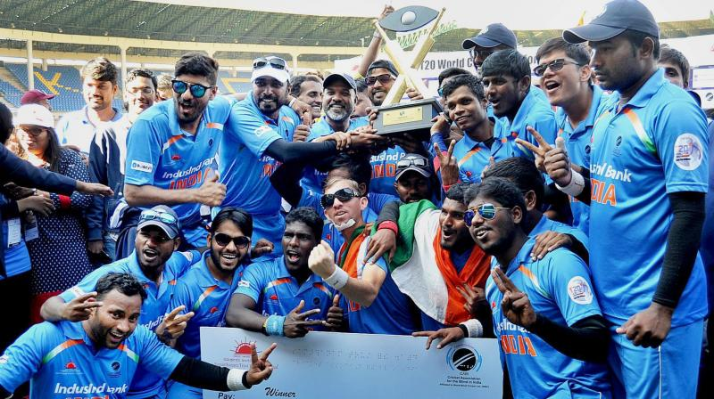 India successfully defended their title, which they won against the same opposition in the previous and only edition of the T20 World Cup. (Photo: PTI)