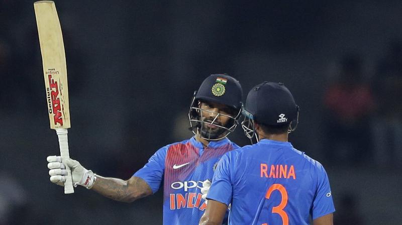 Shikhar Dhawan got to his sixth T20I fifty. (Photo: AP)