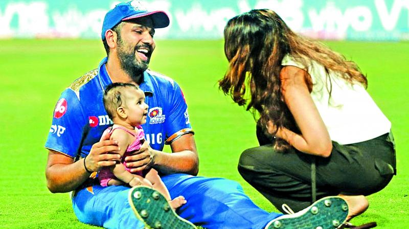 Rohit Sharma and his wife Ritika Sajdeh with their daughter. (Photo: BCCI)