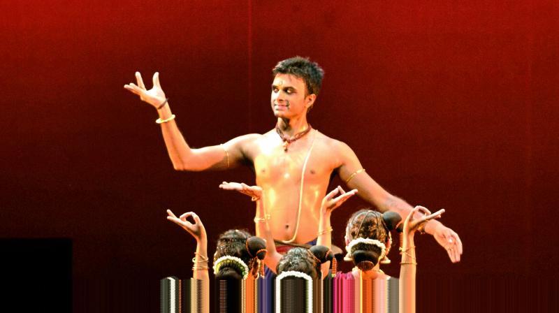 Acclaimed Bharatanatyam performer Parshwanath Upadhye on stage.