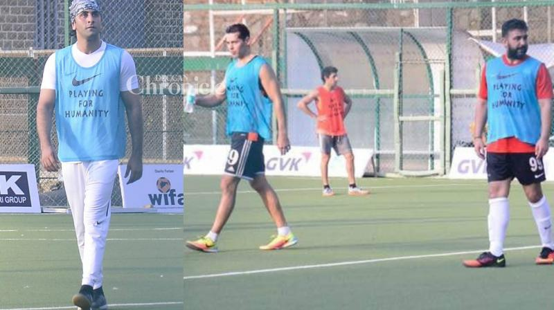 Ranbir Kapoor was snapped as he practised for a football match against officials of the Central Industrial Security Force (CISF), a wing of the Central Armed Police Forces, that is set to take place on Tuesday. Dino Morea, Bunty Walia among others were also snapped in Bandra on Sunday. (Photo: Viral Bhayani)