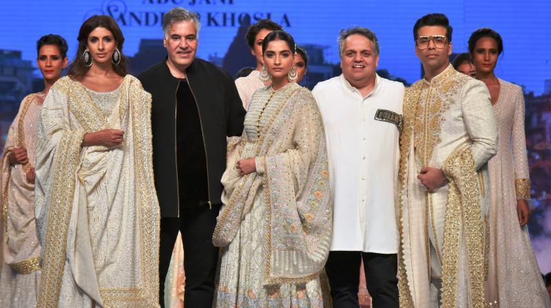 L-R: Shweta Bachchan Nanda, Abu Jani, Sonam Kapoor Ahuja, Sandeep Khosla, Karan Johar. (Photo: File)