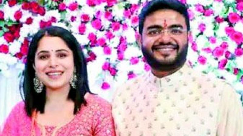 Siddharth with fiance Ishita Kumar