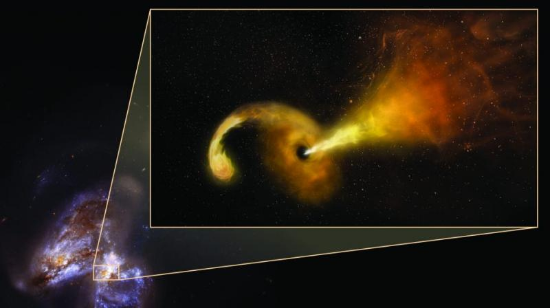 The scientists tracked the event with radio and infrared telescopes, including the National Science Foundation's Very Long Baseline Array (VLBA), in a pair of colliding galaxies called Arp 299. (Photo Credit: Sophia Dagnello, NRAO/AUI/NSF; NASA, STScI)