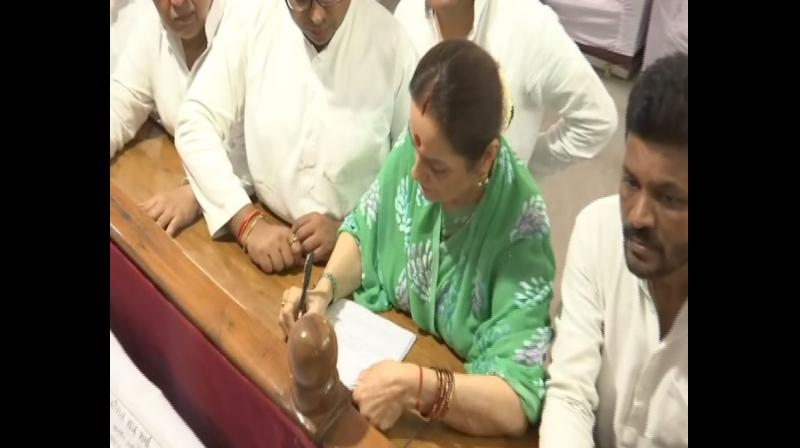 Poonam Sinha, wife of actor-turned-politician Shatrughan Sinha, filed her nomination from Lucknow Parliamentary Constituency on Thursday, two days after she joined the Samajwadi Party (SP). (Photo: ANI)