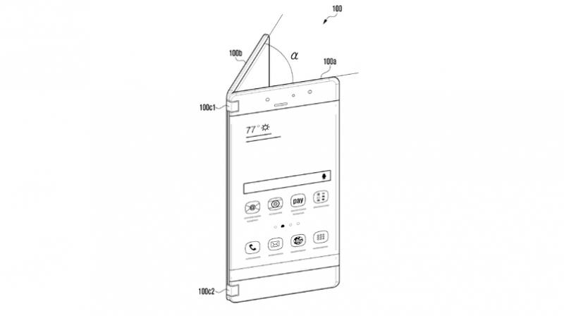 The patent suggests a smartphone features a hinge that connects the two screens using a hinge that also allows the phone to be closed.