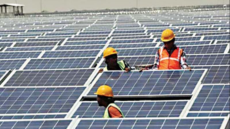 The mega solar energy plant at Pavagada in Tumakuru district.