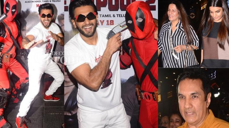Ranveer Singh was at his goofy best at a special screening of the film 'Deadpool 2' held in Mumbai on Monday. (Photo: Viral Bhayani)