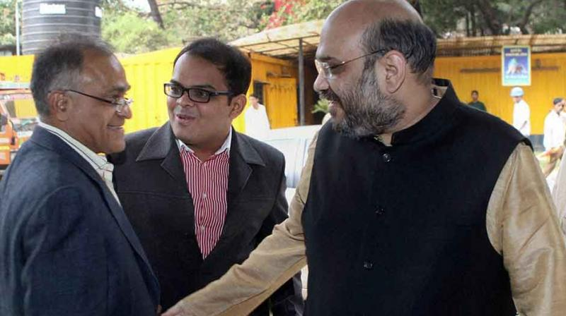 'The Wire', in a report, claimed that Jay Shah's (centre) firm's turnover grew exponentially after the BJP came to power in 2014. (Photo: PTI)