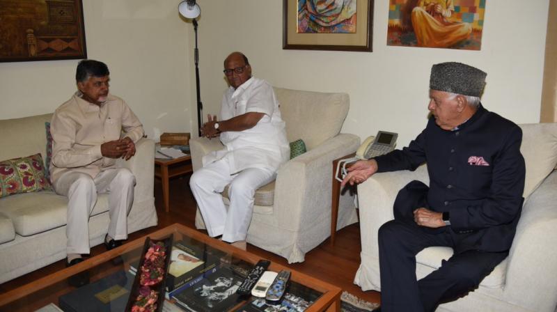 TDP chief N Chandrababu Naidu meets NCP chief Sharad Pawar and National Conference chief Farooq Abdullah in Delhi on Thursday. (Twitter   @ncbn)