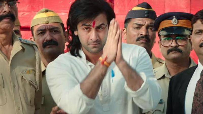 Ranbir Kapoor in a still from 'Sanju.'