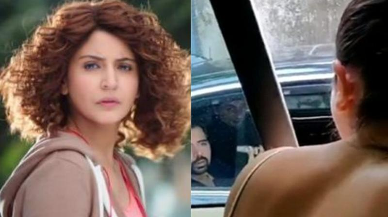 Screengrab of Anushka Sharma in 'Sanju' trailer and her video of pulling up man for littering.