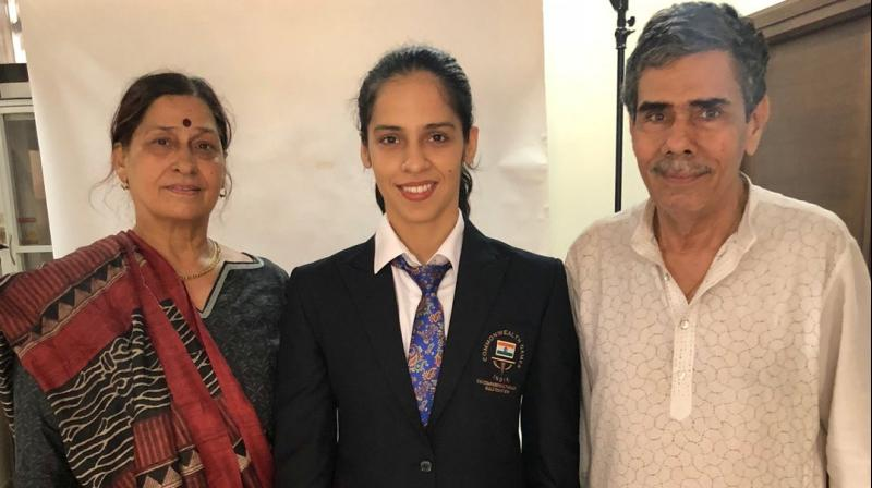 "People have written that I put my dad first but it's not the case otherwise I wouldn't have won medals for my country,"" an emotional Saina said after beating compatriot and top seed PV Sindhu in the final of Commonwealth Games 2018. (Photo: Twitter / Saina Nehwal)"