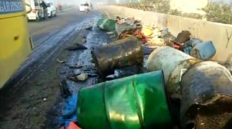 A car, which was headed to Hansi, dashed against the divider of the overbridge and ran over the labourers who were sleeping on a footpath, police said.(Photo: ANI/Twitter)