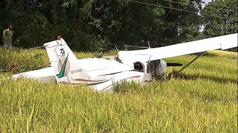The trainee pilot suffered minor injuries and has been hospitalised. (Photo: ANI/Twitter)