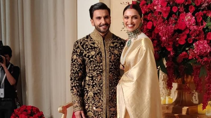 The saree that Deepika is wearing for her Bengaluru reception is gifted to her by her mother Ujjala Padukone. (Photo: ANI/Twitter)