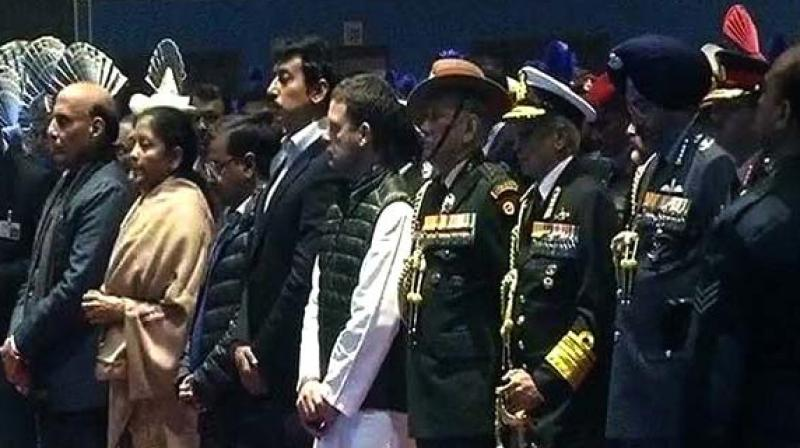 Defence Minister Nirmala Sitharaman, Delhi Chief Minister Arvind Kejriwal, Congress president Rahul Gandhi, sports minister Rajyavardhan Singh Rathore pay tribute to CRPF martyrs who lost their lives in the Pulwama terror attack. (PTI)