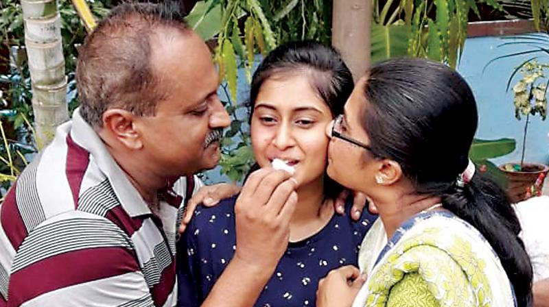 Srujana's mother B.L. Veena, a home maker, said her husband Divakar, a teacher by profession, had instilled discipline in her and also helped her. Srujana wants to take up science stream.