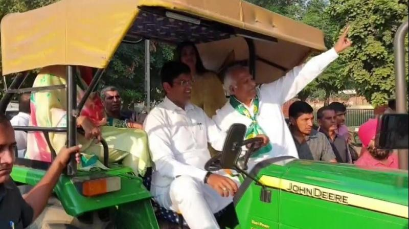 """Chautala said: """"People (in Haryana) are looking for a change and that is why we reached the polling booth with a mode of transportation that is our identity."""" (Photo: ANI 