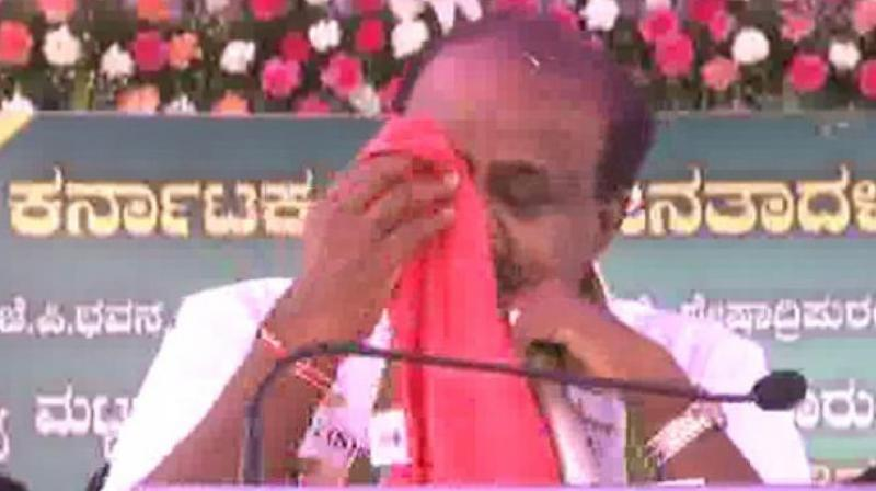 Reflecting strains in  JD(S)-Congress coalition govt, a teary-eyed Kumaraswamy had told a meeting of the JD(S) workers on Saturday that he was 'not happy' being in the top post. (Photo: File/ANI)