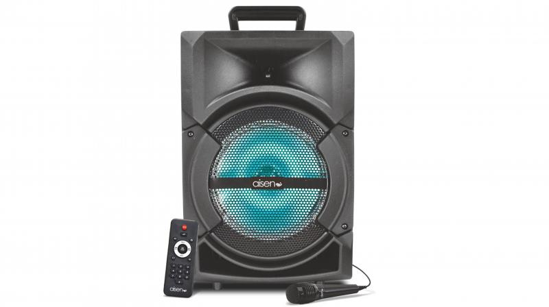 The party speaker is equipped with digital lights.