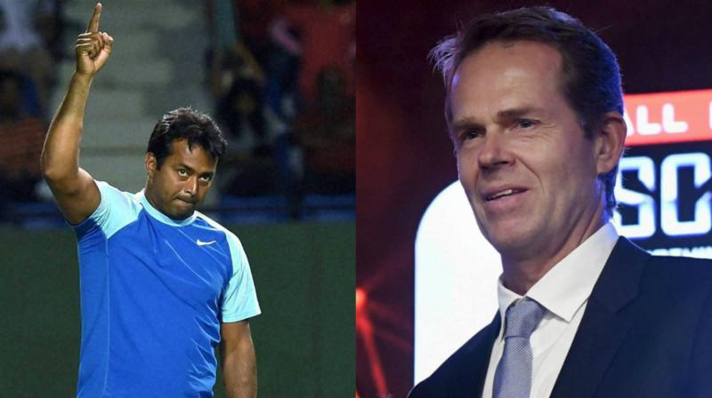 """""""Leander Paes was playing doubles during my time and I finished about 20 years ago and what Leander has done is quite amazing. To be so competitive, so good and still being around, it is fascinating,"""" said Stefan Edberg. (Photo: PTI)"""