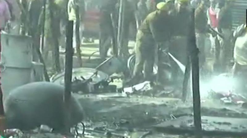 According to police officials, the fire has been doused and the area is being cleared now. (Photo: Twitter | ANI)