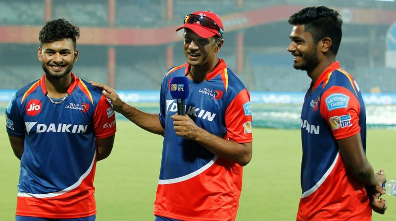 """I am glad that you have not been watching too many videos of me batting when you need 208 in 20 overs. Well done boys, terrific innings,"" Rahul Dravid told Sanju Samson and Rishabh Pant as they powered Delhi Daredevils to seven-wicket win against Gujarat Lions. (Photo: IPL Twitter)"