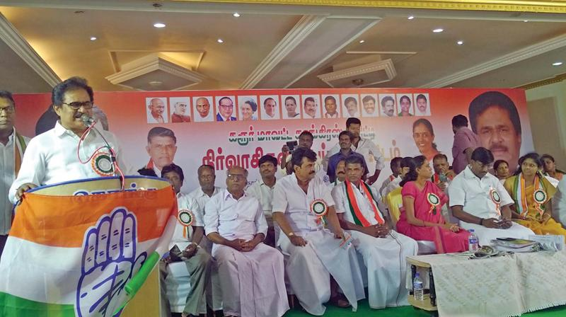 TNCC president S.Thirunavukkarasar addressing the party's workers meeting at Karur on Sunday. To a question, he said the Congress was continuing in the DMK-led alliance in Tamil Nadu and the understanding will continue.(Photo:DC)
