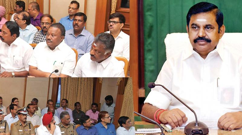 Chief Minister Edappadi K. Palaniswami chairs a high-level review meeting with ministers and top officials to tackle northeast monsoon in Chennai on Tuesday. (Photo: DC)