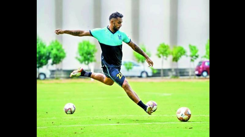 Hyderabad's Robin Singh at a training session on Tuesday.
