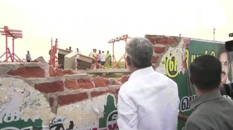 The incident took place at a time when the plane was moving towards the runway. It is reported that one of the wheels of the plane hit the wall which led to technical snags. (Photo: Twitter | ANI)