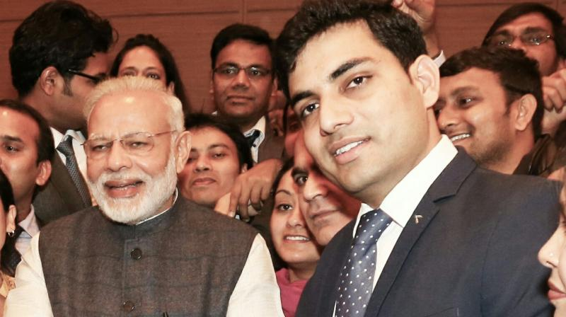 Producer Sandeep Choudhary with Modi.