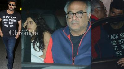 Arjun Kapoor hosted a get-together at his residence on Friday for his father Boney Kapoor and half-sisters Janhvi and Khushi in Mumbai. (Photo: Viral Bhayani)