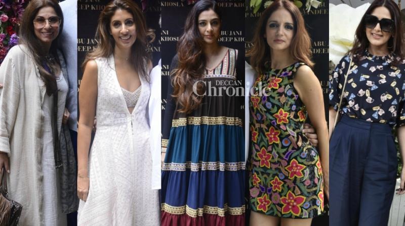 Bollywood ladies turned up for a store launch for popular designers Abu Jani and Sandeep Khosla in Mumbai on Friday. (Photo: Viral Bhayani)