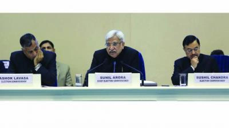 EC Ashok Lavasa (EC), CEC Sunil Arora (C) and EC Sushil Chandra. (Photo: File)