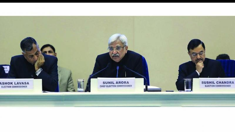 Chief Election Commissioner Sunil Arora issues statement on EC Ashok Lavasa's purported letter to him, says, 'an unsavory and avoidable controversy reported in sections of media today about internal functioning of ECI in respect of handling of Model Code of Conduct.' (Photo: AP | File)