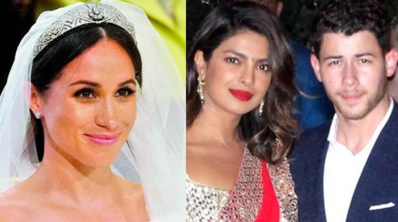 Meghan Markle (Photo: AP), Priyanka Chopra and Nick Jonas at an Indian wedding.