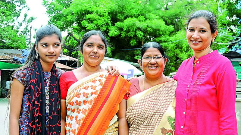 (From left) Mayuri Masanagari, Mogulamma Kandakam and Anasuyamma Chilkapally. (Photo: DC)