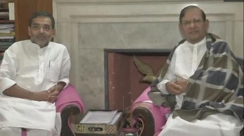 In a tweet, Kushwaha described the meeting as a courtesy call. (Photo: ANI)