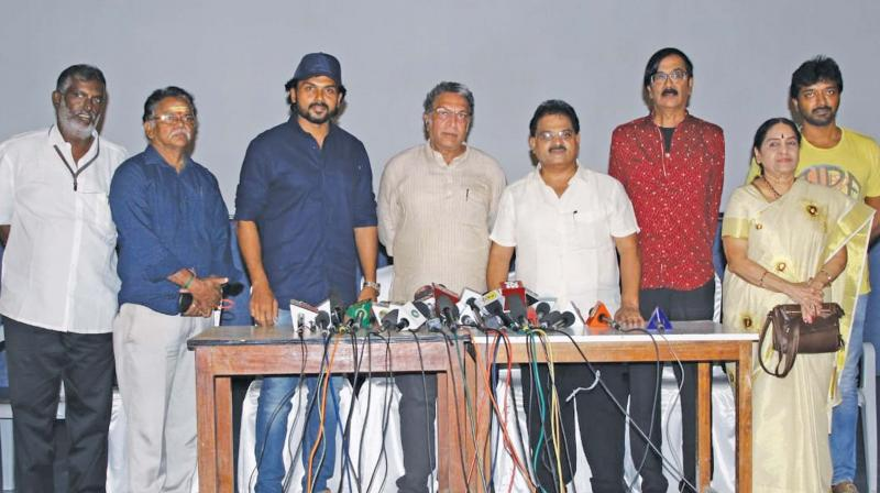 Nadigar Sangam office-bearers at the press meet in the city on Thursday.  (DC)